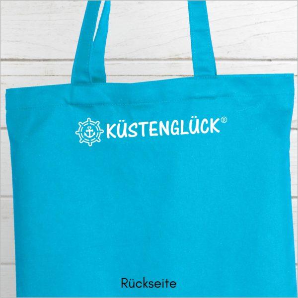 Strandtasche Hellblau Spruch Küstenglück Rückseite