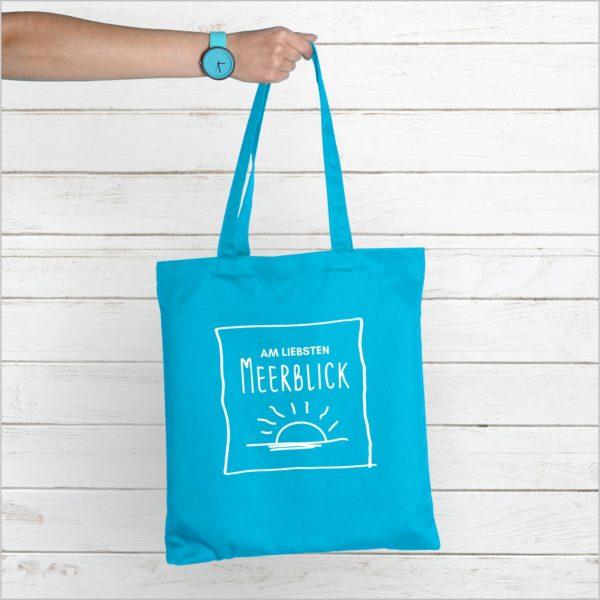 Strandtasche Hellblau Spruch Meerblick Küstenglück
