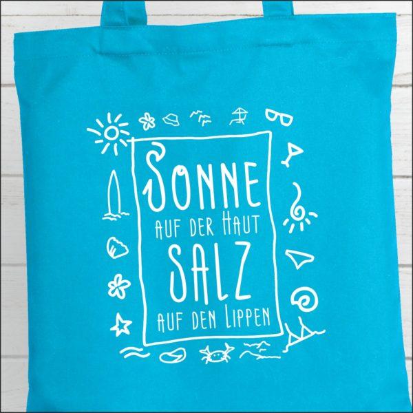 Strandtasche Hellblau Spruch Sonne und Salz Küstenglück