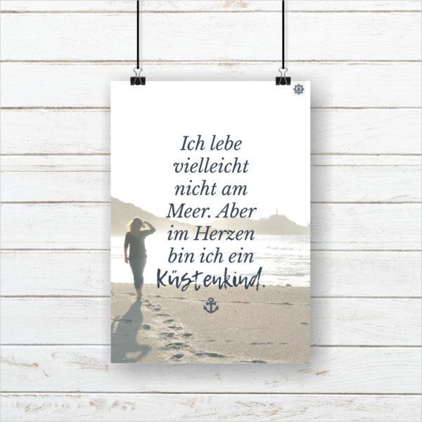 Meer Sprüche Poster Strand Küstenkind Küstenglück