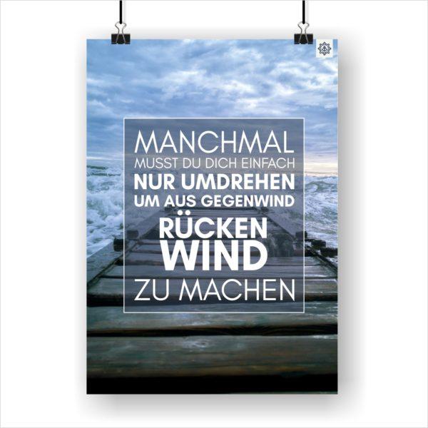 Meer Sprüche Poster Strand Rückenwind Küstenglück