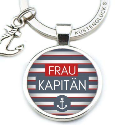 Schlüsselanhänger Frau Kapitän gestreift Küstenglück navy