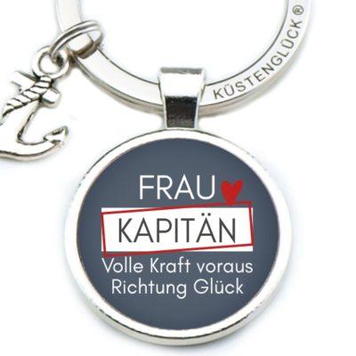 Schlüsselanhänger Spruch Frau Kapitän Volle Kraft Küstenglück navy