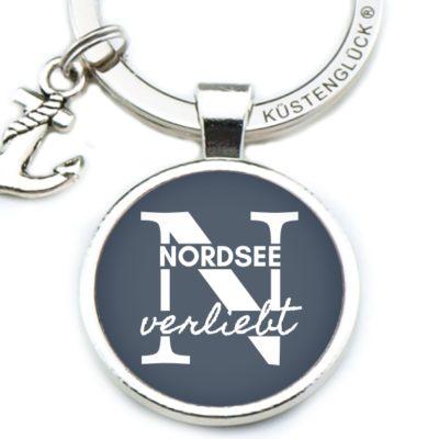 Schlüsselanhänger Spruch Nordsee verliebt Küstenglück navy