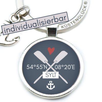 Schlüsselanhänger individualisierbar Lieblingsort Küstenglück navy