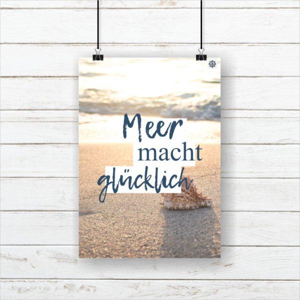 Meer Sprüche Poster Strand Meer mach glücklich Küstenglück