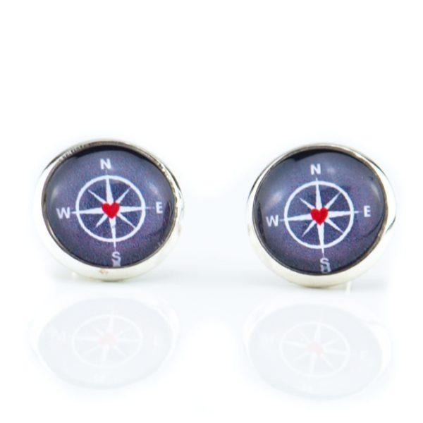 Ohrstecker Kompass rot-blau Küstenglück