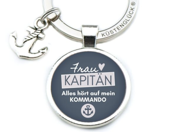 Schlüsselanhänger Spruch Frau Kapitän Kommando Küstenglück navy