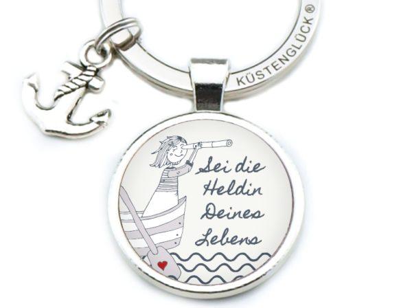 Schlüsselanhänger Spruch Heldin Küstenglück sand