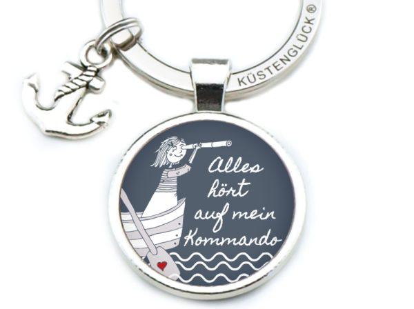 Schlüsselanhänger Spruch Kommando Mädchen Küstenglück navy
