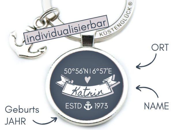 Schlüsselanhänger individualisierbar Küstenglück