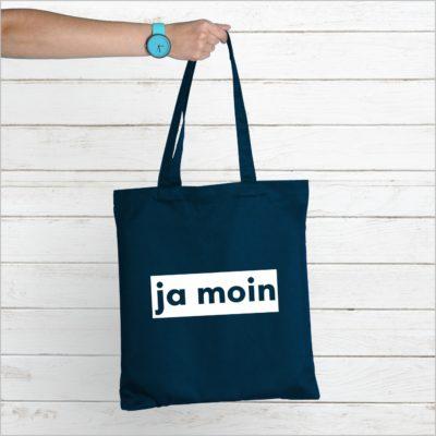Baumwolltasche Navy Spruch Ja Moin Küstenglück