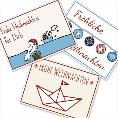 Weihnachts-Karten 3er Set Küstenglück