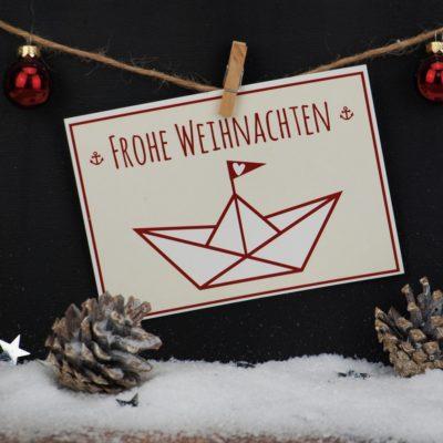 Weihnachtskarte Schiffchen Küstenglück