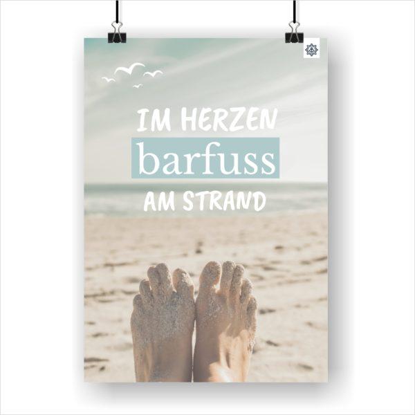 Meer Sprüche Poster Barfuß am Strand Küstenglück