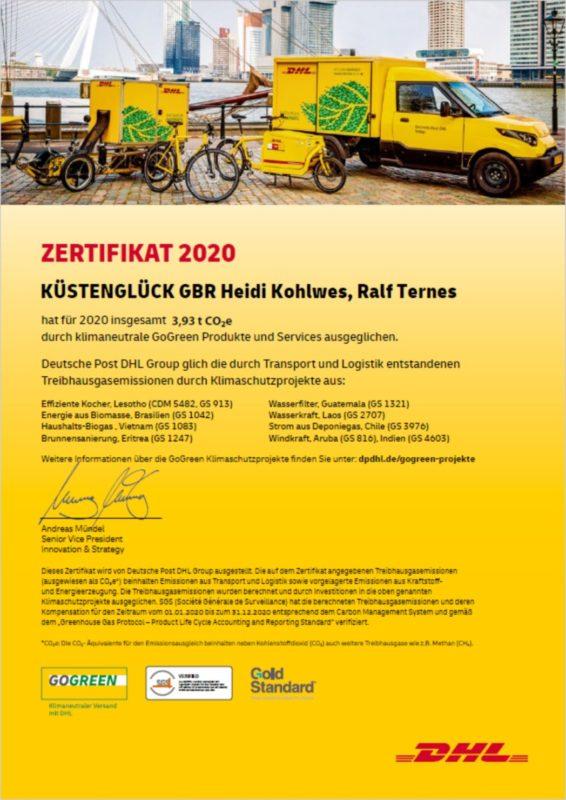 Gogreen Zertifikat 2020 KÜSTENGLÜCK